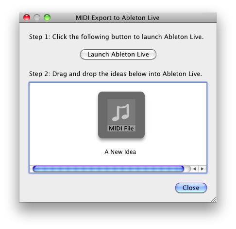 The Instant Export dialog for Ableton Live inside JamDeck.