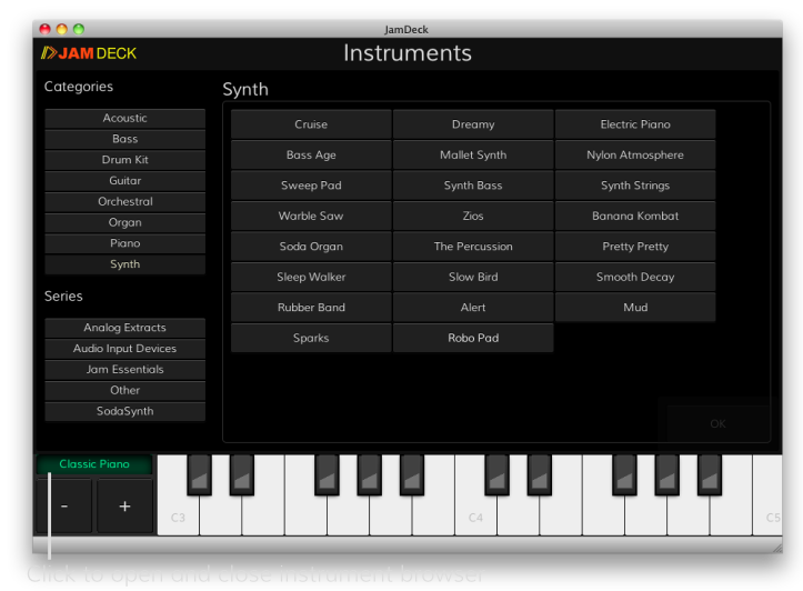 The JamDeck Instrument Browser